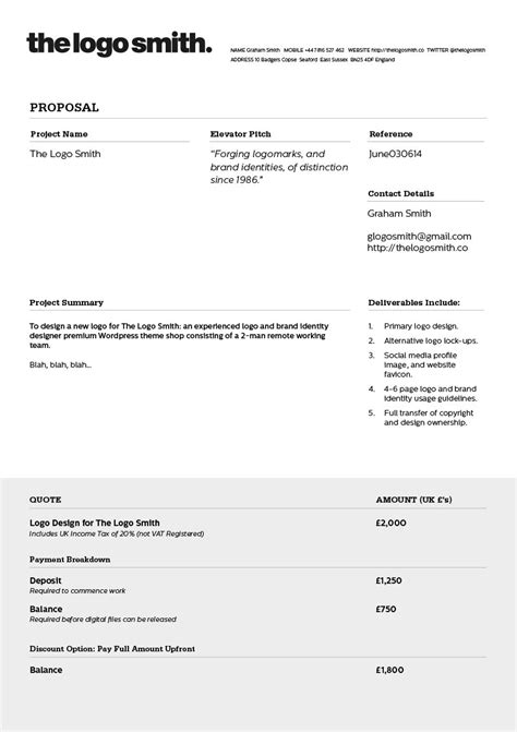 design a proposal template freelance logo design proposal and invoice template for