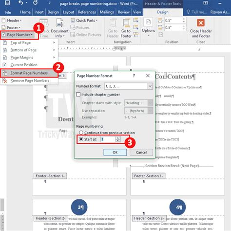 word page numbers sections add page numbers starting from specific page in word document