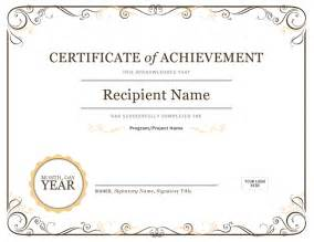 word certificate of achievement template certificates office