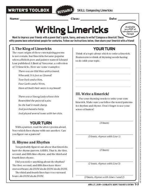 limerick worksheet worksheets