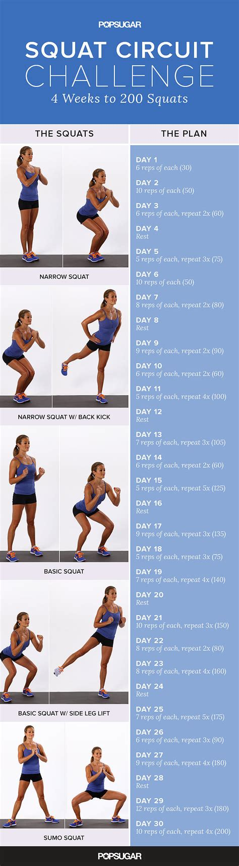 what is the squat challenge printable squat challenge popsugar fitness