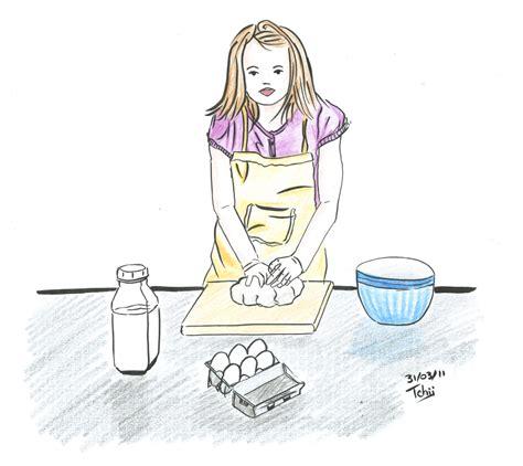 dessin pour cuisine illustration d une fille qui cuisine croquis