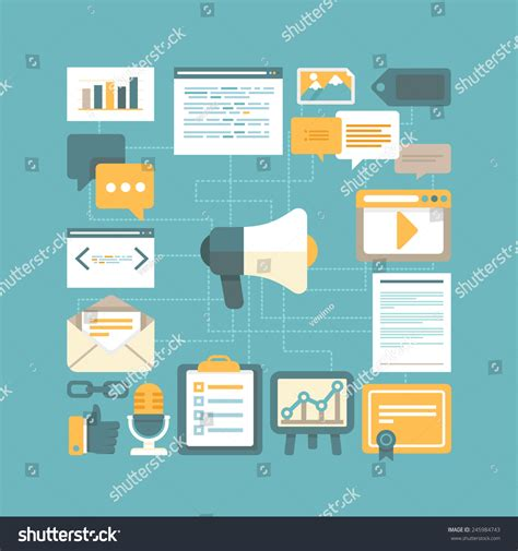 vector content marketing concept in flat style working