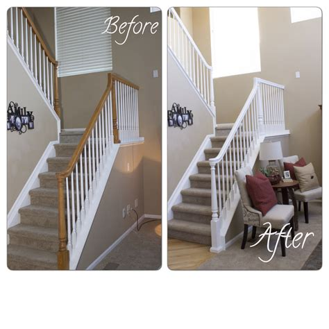white banister how to update a banister for less than 50 marlowe lane