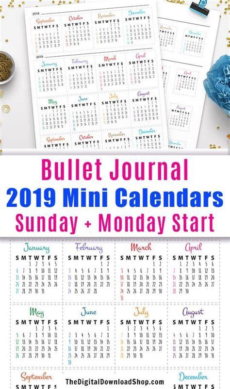 bullet journal mini calendars printable bullet journal month bullet journal