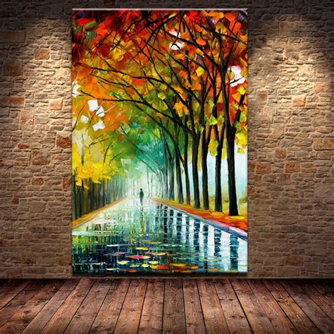 home decor canvas painting abstract city street landscape free shipping knife the vibrant autumn street trees 100