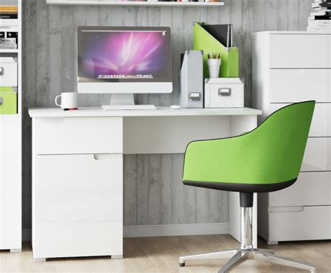 white gloss office desk cellini large white gloss computer desk office workstation
