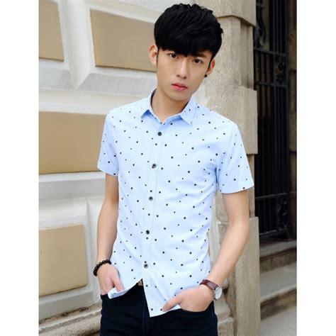 Baju Kemeja Pria Lengan Pendek 3161 Biru Motif Lengkung Slimfit High jual kemeja lengan pendek pria motif bintang