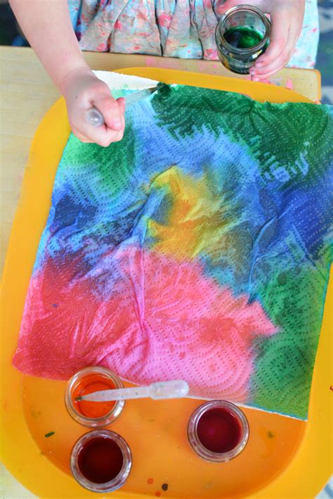 craft projects for toddlers tie dyed paper towel you can do with your toddler