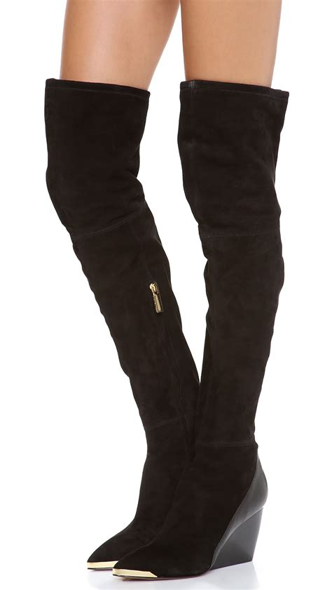 zoe boots zoe nico the knee boots in black lyst