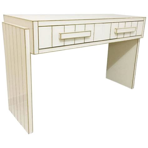 mirrored writing desk two drawer mirrored glass and brass writing desk console