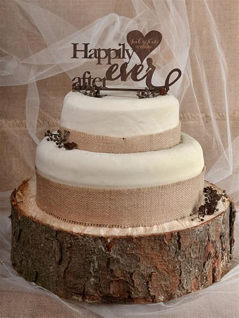 Hochzeitstorte Rustikal by Rustic Cake Topper Wood Cake Topper Happily After