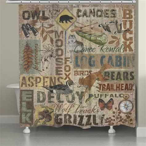 Cabin Shower Curtains Rustic Words Shower Curtain