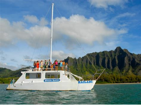 catamaran boat ride hawaii kualoa ranch catamaran cruise at kaneohe bay oahu tours