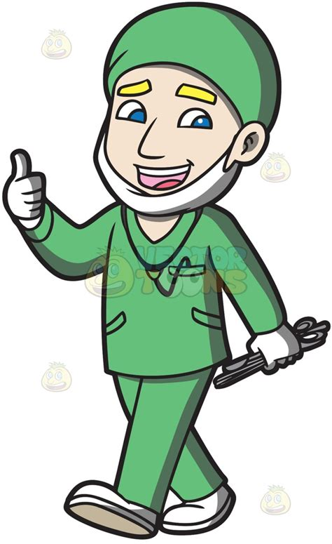 surgeon clipart a surgeon happily finishes an operation clipart by