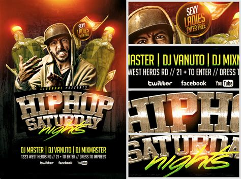 free hip hop flyer templates hip hop saturdays flyer template flyerheroes