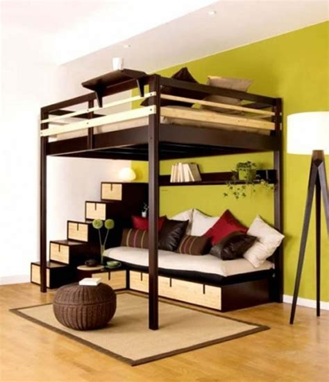 bedroom with loft loft bed contemporary bedroom design for small space by