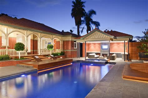 modern alfresco pool area of a heritage house in park