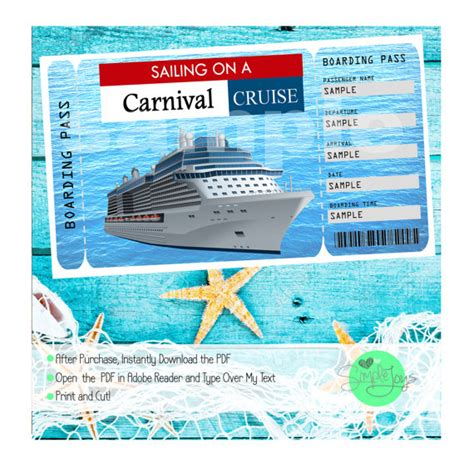 Carnival Cruise Printable Ticket Boarding Pass Customizable Free Cruise Ship Flyer Template