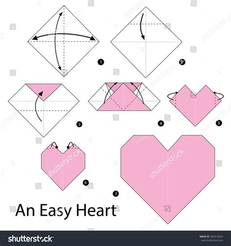 How To Fold Paper Hearts Step By Step - step by step how make stock vector 383312824