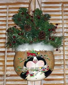 hand painted canteen gourd christmas cat wall or door