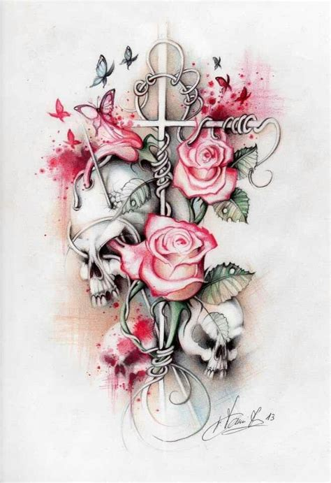 skull butterfly rose tattoo 25 best ideas about skulls and roses on skull