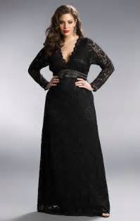 black lace long sleeve plus size formal dresses plunging