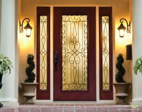 Gold Candle Wall Sconces Wrought Iron Glass Front Entry Doors Mediterranean