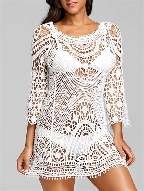 Crochet Lace Cover Up low back crochet lace cover up in white one size