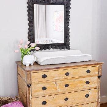 mirror over dresser in nursery antiqued white french nursery dresser with round gray