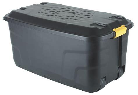 Strata Heavy Duty Black 145L Plastic Storage Box On Wheels