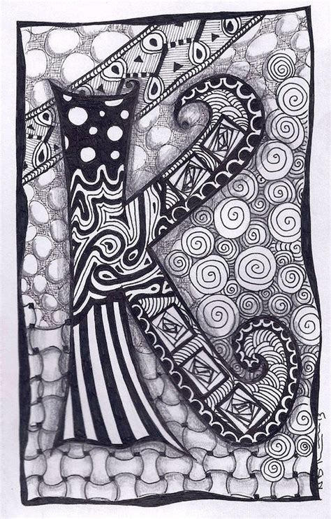 zentangle pattern letters names zentangle and letter k on pinterest