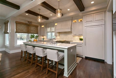 Open Concept Farmhouse by Wood Beams Ceiling And Soffit Traditional Kitchen
