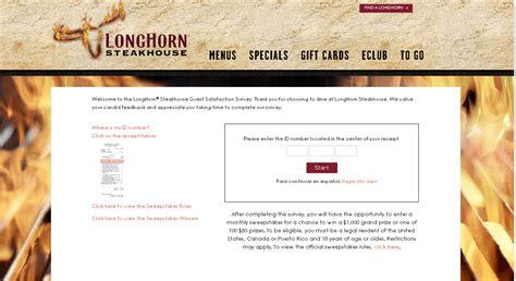 Longhorn Steakhouse Sweepstakes - longhorn steakhouse longhornsurvey guide customer survey assist