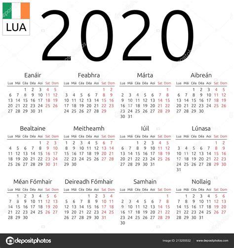 simple annual  year wall calendar irish language week starts stock vector  dmitry