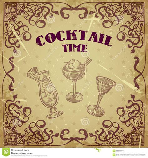 vintage cocktail vector collection of vintage cocktails with art deco border