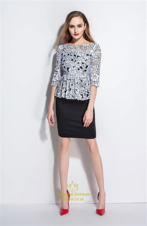 Two Tone Sleeve Dress black and white two tone embroidered peplum dress with 3 4