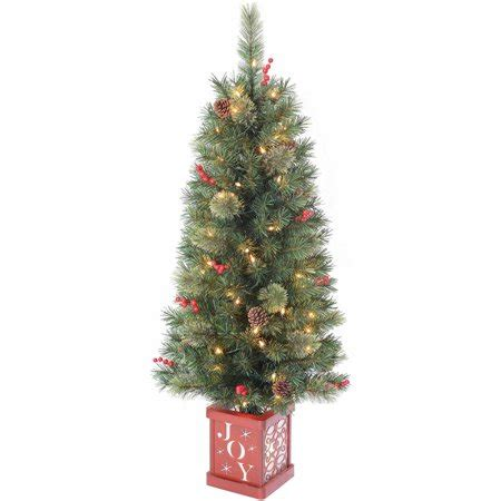 walmart christmas trees with lights time pre lit 4 porch tree green clear lights walmart