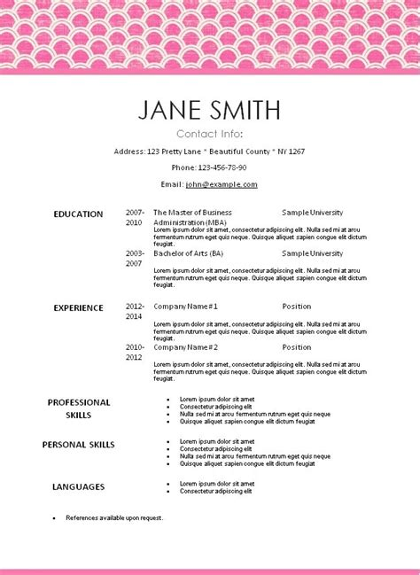 Pretty Resume Templates Free by Creative Resume Templates