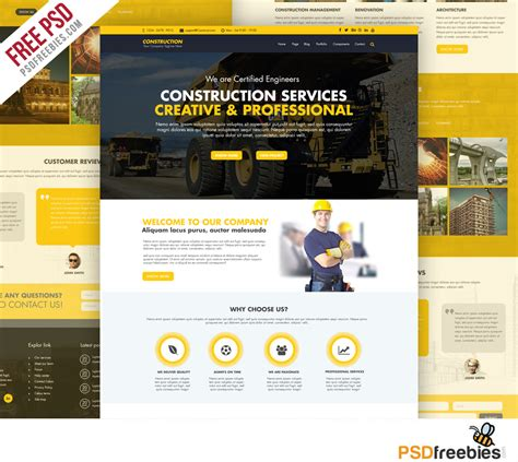 free website construction template construction company website template free psd