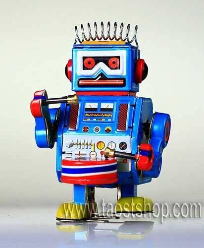 Ttr Robot china robot band drummer blue ttr70 china tin