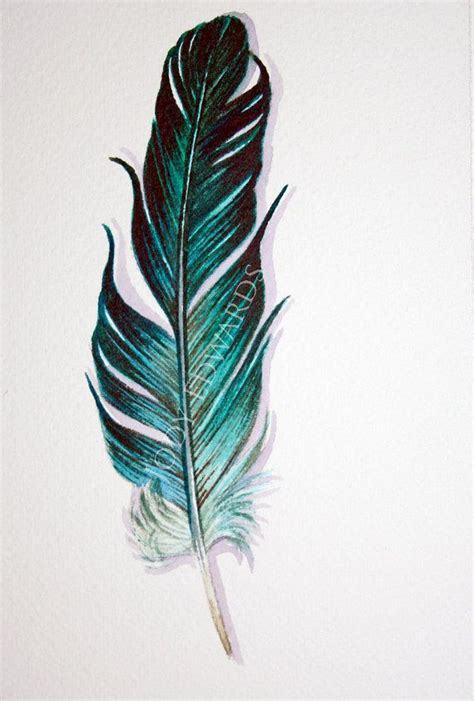 aquamarine feather painting original watercolor 깃털