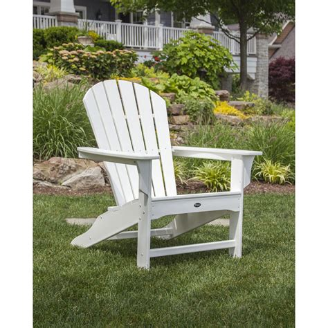 White Outdoor Patio Furniture Shop Trex Outdoor Furniture Cape Cod Classic White Plastic Patio Adirondack Chair At Lowes