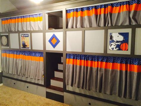 bottom bunk curtains quad bunk beds with privacy curtains and stained stairs