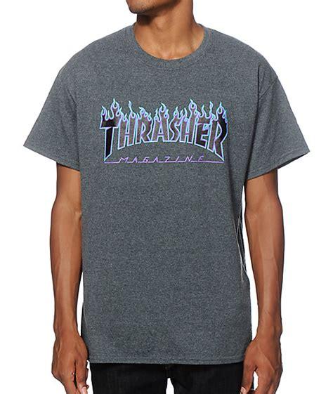 Thrasher Blue Tshirt thrasher logo purp t shirt zumiez