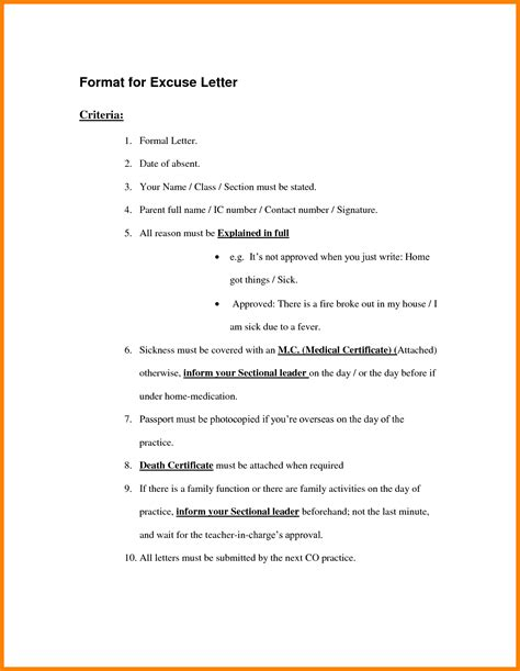 Excuse Letter Not Attending Class Professional Complete Draft Exle Of Absence Letter With Criteria Highlights Qualification