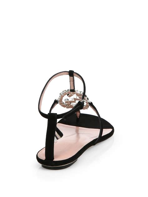Sandal Slop Gucci Tagbox Gucci lyst gucci gg leather and suede sandals in black