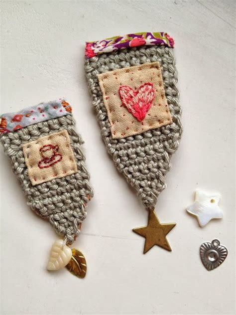 bunting one crochet embroidered brooches one bunting away