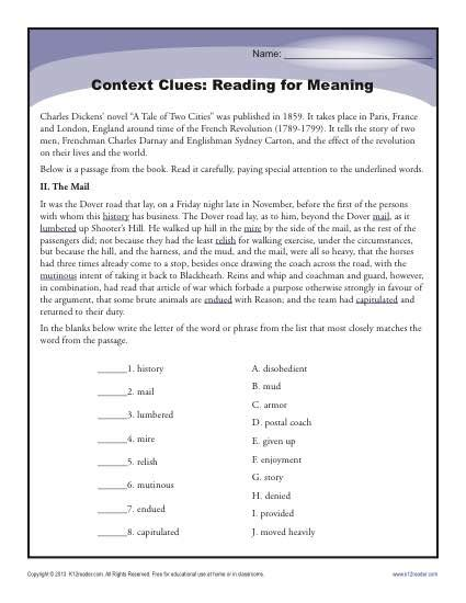 context clues reading for meaning high worksheets