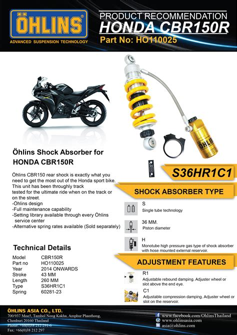 Shock Yss Tabung For Cbr 150 honda cbr150 r racing 214 hlins asia